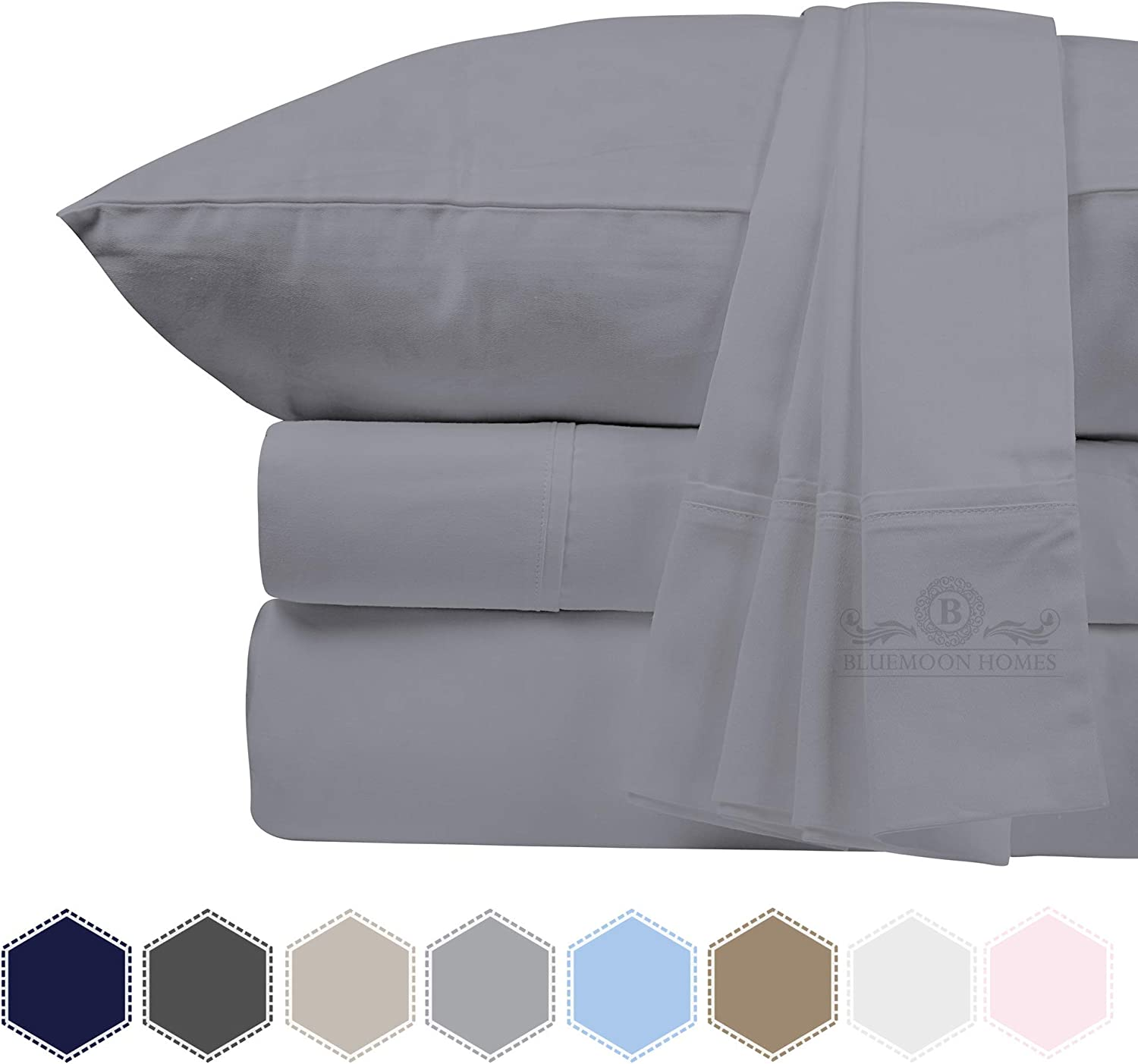 Bluemoon Homes Luxurious 1000 Thread Count Italian Finish 100% Egyptian Cotton 4-Piece Bed Sheet Set, Fits Mattress Up to 18 inches Deep Pocket, Solid Pattern (Color - Silver Grey, Size - King).