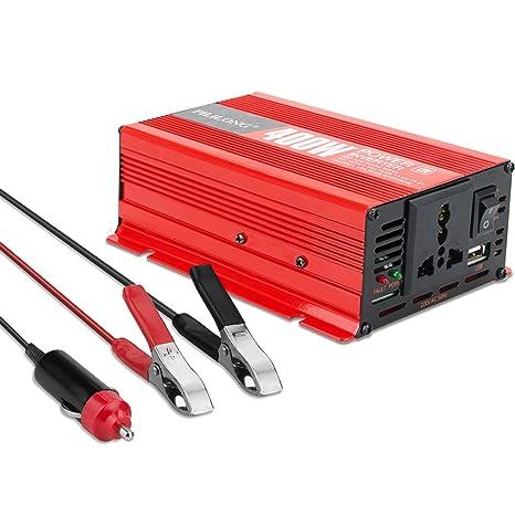 Inversor de Corriente 400W Convertidor Corriente de 12V a 220V-240V Transformador Inverter con Salida