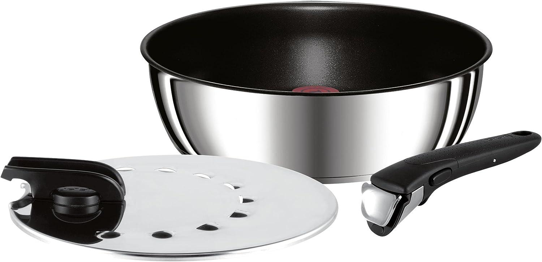 Tefal Ingenio Essential Set de 3 Pi/èces Po/êles 22//26 cm Sauteuse 24 cm/Noir L2007802 /& L9938015 Ingenio Poign/ée Amovible Premium Inox