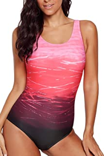 5a0b986df0141 HOTAPEI Women s Athletic Training Gradient Criss Cross Back One Piece  Swimsuit Swimwear Bathing Suit