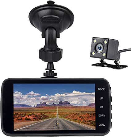 Night Vision WDR Loop Recording Parking Monitor Motion Detection G-Sensor Front and Rear Dual Dash Cam 1080P DVR Dashboard Camera Full HD 4 Inch IPS Screen 170/°Wide Angle