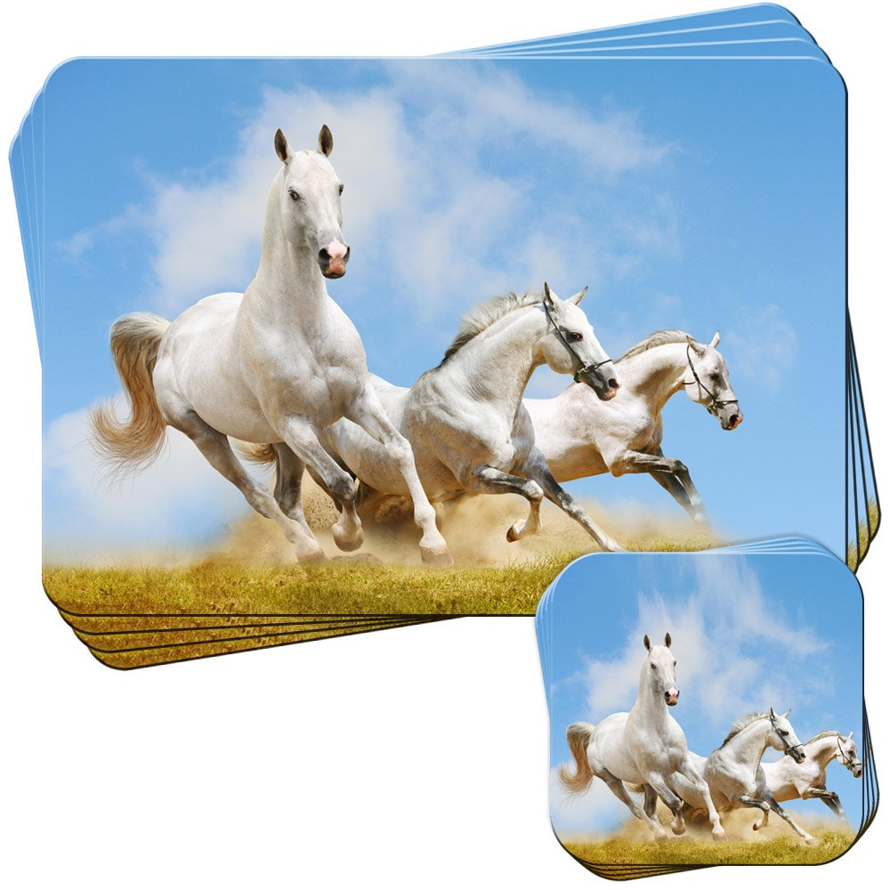Close Up Of Dirty White Horse Set of 4 Placemats and Coasters Fancy A Snuggle