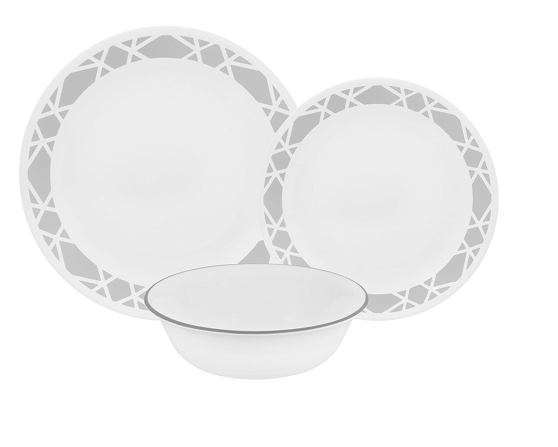 Corelle 12-Piece Vitrelle Modena Chip and Break Resistant Dinner Set, Grey World Kitchen 1128594