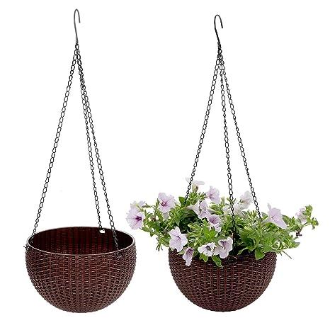 T4U Plastico Jardinera Colgante Redonda Cesta Percha de Planta de Jardín de Flores con Escurridor y