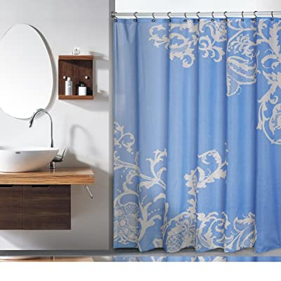 Duck River Textiles Isabella Faux Silk Shower Curtain In Porcelain Blue Champagne