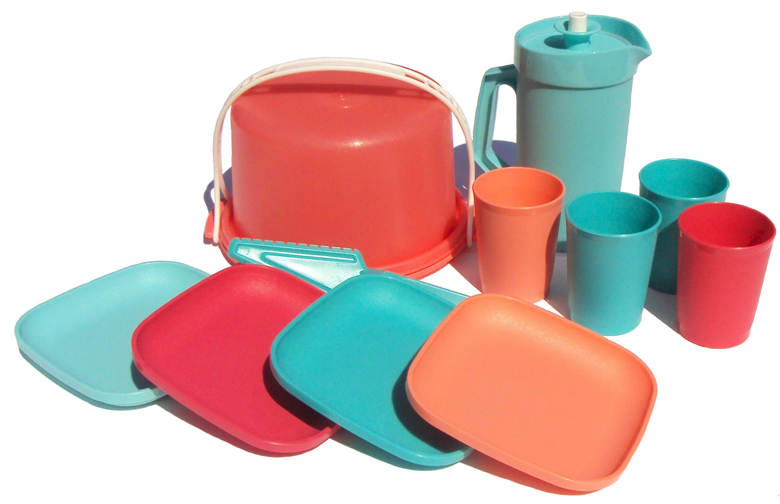 Tupperware Children's Mini Party Serving Set Play Toy Plates Cups Pitcher Cake Taker