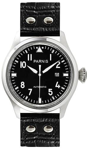 PARNIS 9034 deportivo de acero inoxidable automático de reloj 5bar Planeador resistente al agua reloj 47