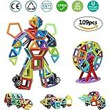infinitoo Blocs Construction Magnétiques | 109 Pièces Mini Jeux de Construction Magnetique Colorée 3ère-Version | Idéal Cadeau pour Bébé à Partir de 3 Ans