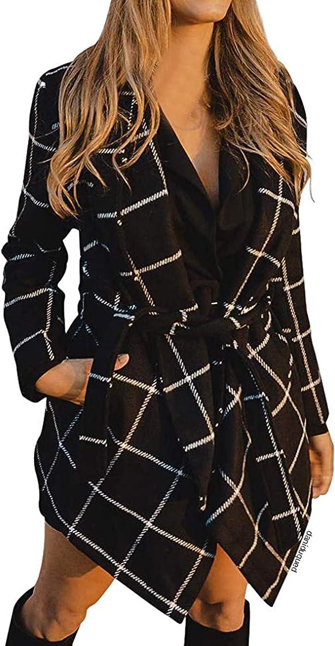 WCS Women's Turn Down Collar Grid Asymmetric Coat Belted Wool Blend Coat Hem Wrap Oversize Coat Jacket