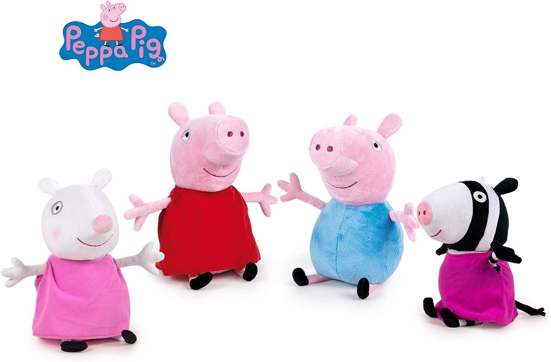 Peppa Pig - Pack 4 Peluches George+Peppa+Zöe Cebra+Suzy Oveja 748 ...