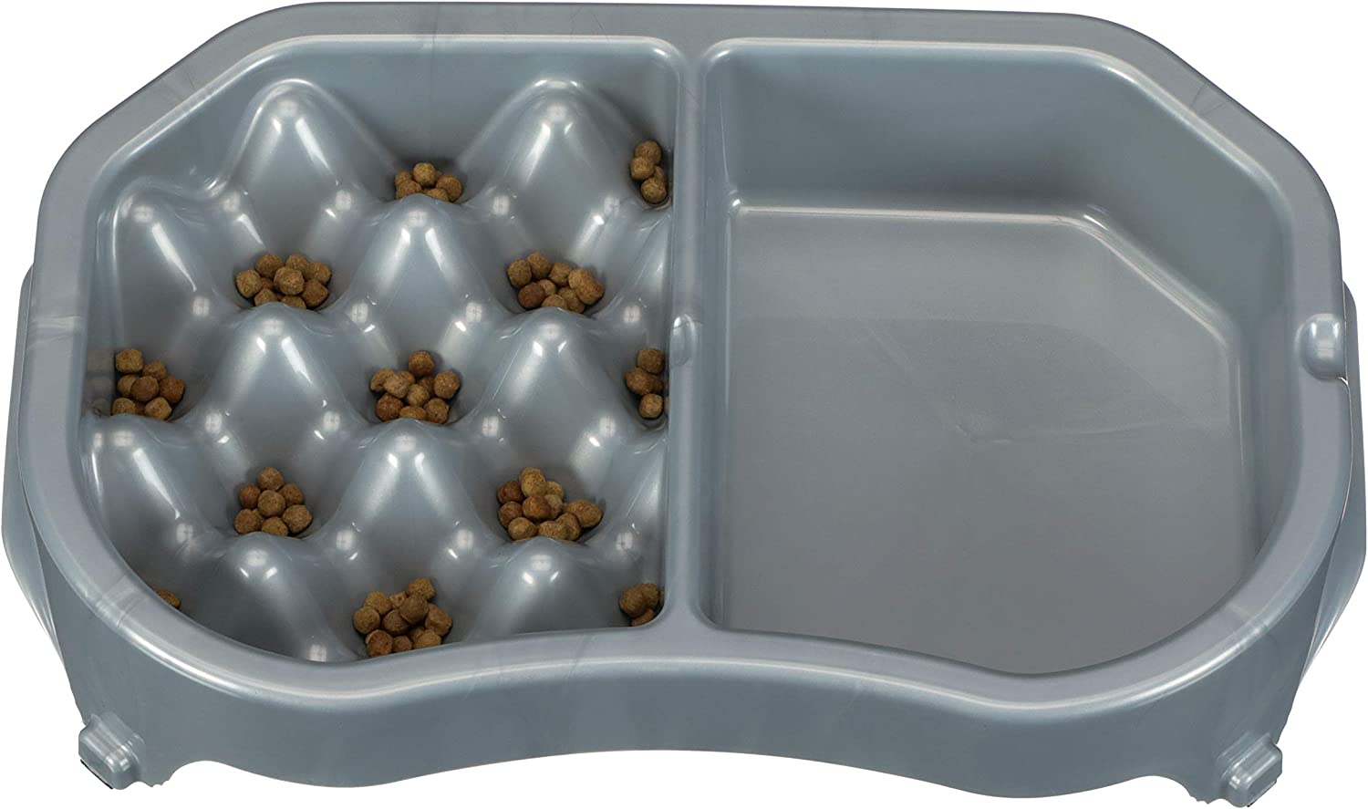 Neater Pet Brands - Neater Slow Feeder - Fun, Healthy, Stress Free Dog Bowl Helps Stop Bloat Prevents Obesity Improves Digestion (Double Diner, Silver Metallic)