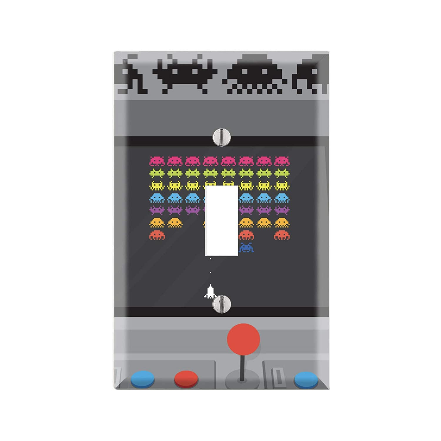 Classic Video Game Graphics Wallplate Gift for Gamer Space Invader Art TF81 Space Invader Light Switch Cover Outlet Cover Retro Video Game Decor Single Toggle Outlet Cover Single Rocker