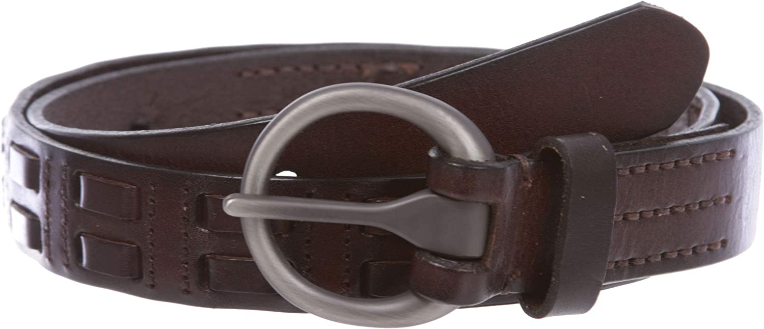 Oil Tanned Round Buckle Double Braided Stitching Link Genuine Leather Belt 28 mm 1 1//8
