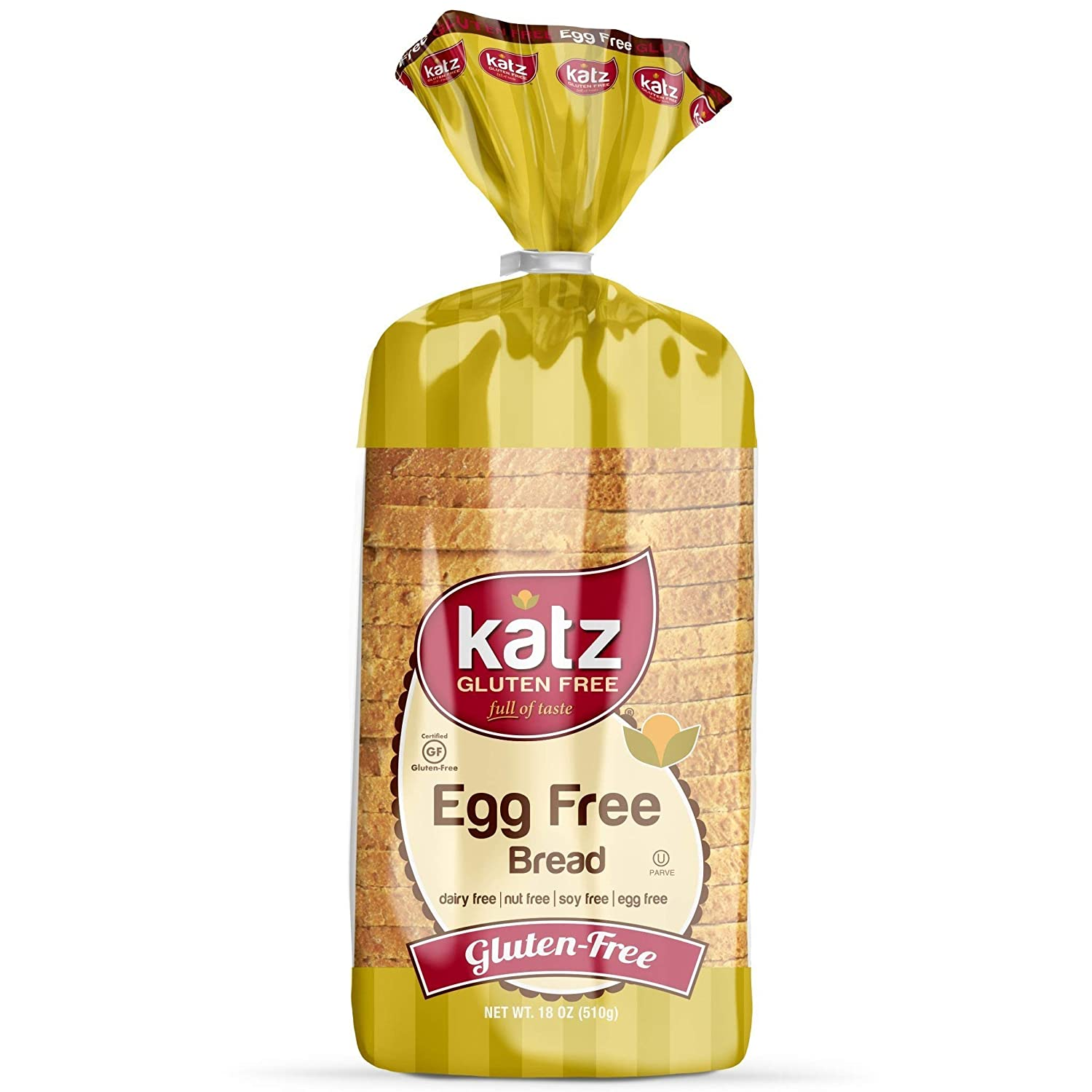 Katz Gluten Free Egg Free Bread | Dairy, Nut, Soy and Gluten Free | Kosher (1 Pack of 1 Sliced Loaf, 18 Ounce)