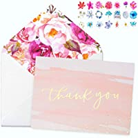 Thank You Cards With Envelopes(24-Pack) 4x6 Gold Foil Bridal Thank You Cards for Kids or Baby Shower Thank You Note Watercolor Foliage Thank You Cards For Wedding Birthday Party Graduation Boy or Girl