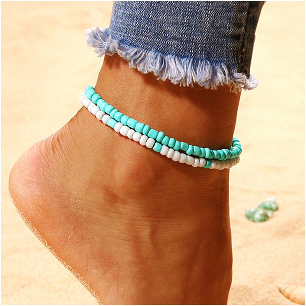 BarogirlBeaded Anklet Chain Jewelry Layered Ankle Bracelets Charms for Women and Girls