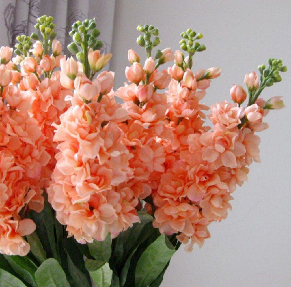 "silk flower arrangements skyseen 3pcs stems 32"" artificial antirrhinum snapdragon silk hyacinth flowers (champagne"