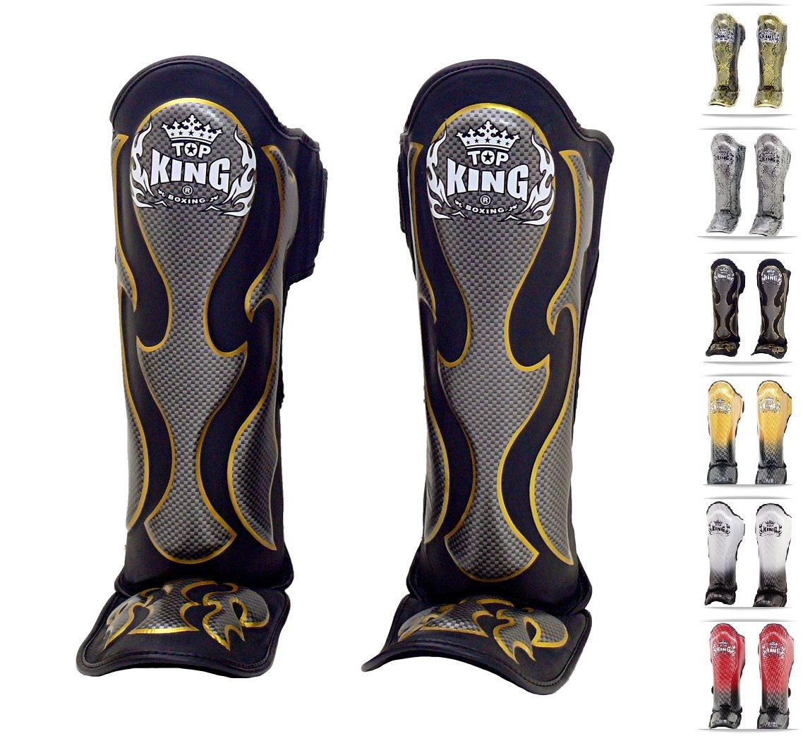 Top King Shin Guards - Top King Shin Pads Black Leather Shin Protection 23