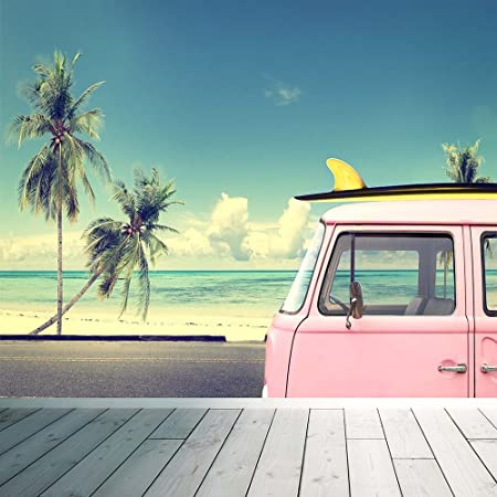 VW Surf Camper Van Map Wall Mural Photo Wallpaper Beach Palm Trees Vintage Large 1500mm
