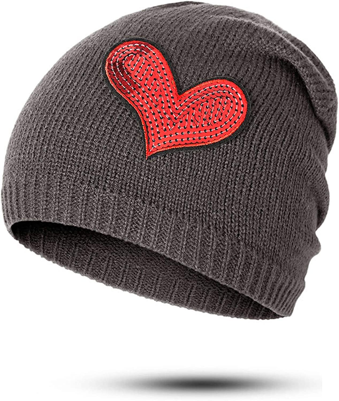 Winter Hat Wool Cap Female Cartoon Embroidery Knitted Wool Hat Wild Heart-Shaped Hood Head Cap