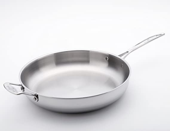 13 by USA Pans Stainless Steel USA Pan 1545CW Gourmet Chef Skillet with Cover 5 qt.