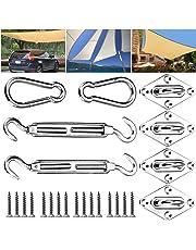 Emooqi Kit di Fissaggio per Vela Parasole, Tenda Parasole Hardware Kit per l'Installazione Sicura di Tende Quadrate e Triangolari