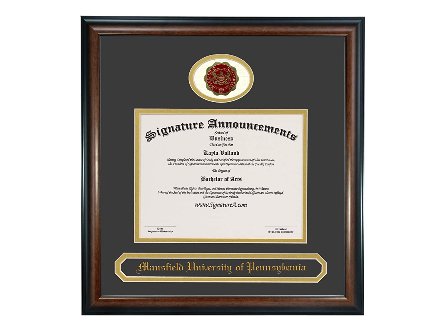 Signature Announcements Mansfield-University-of-Pennsylvania Undergraduate Professional//Doctor Sculpted Foil Seal /& Name Graduation Diploma Frame 16 x 16 Matte Mahogany