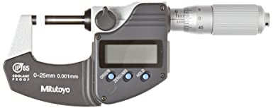Without SPC Ratchet Thimble 0.00005//0.001mm Graduation Mitutoyo 293-344 Coolant Proof LCD Micrometer 0-1//0-25.4mm Range +//-0.00005 Accuracy