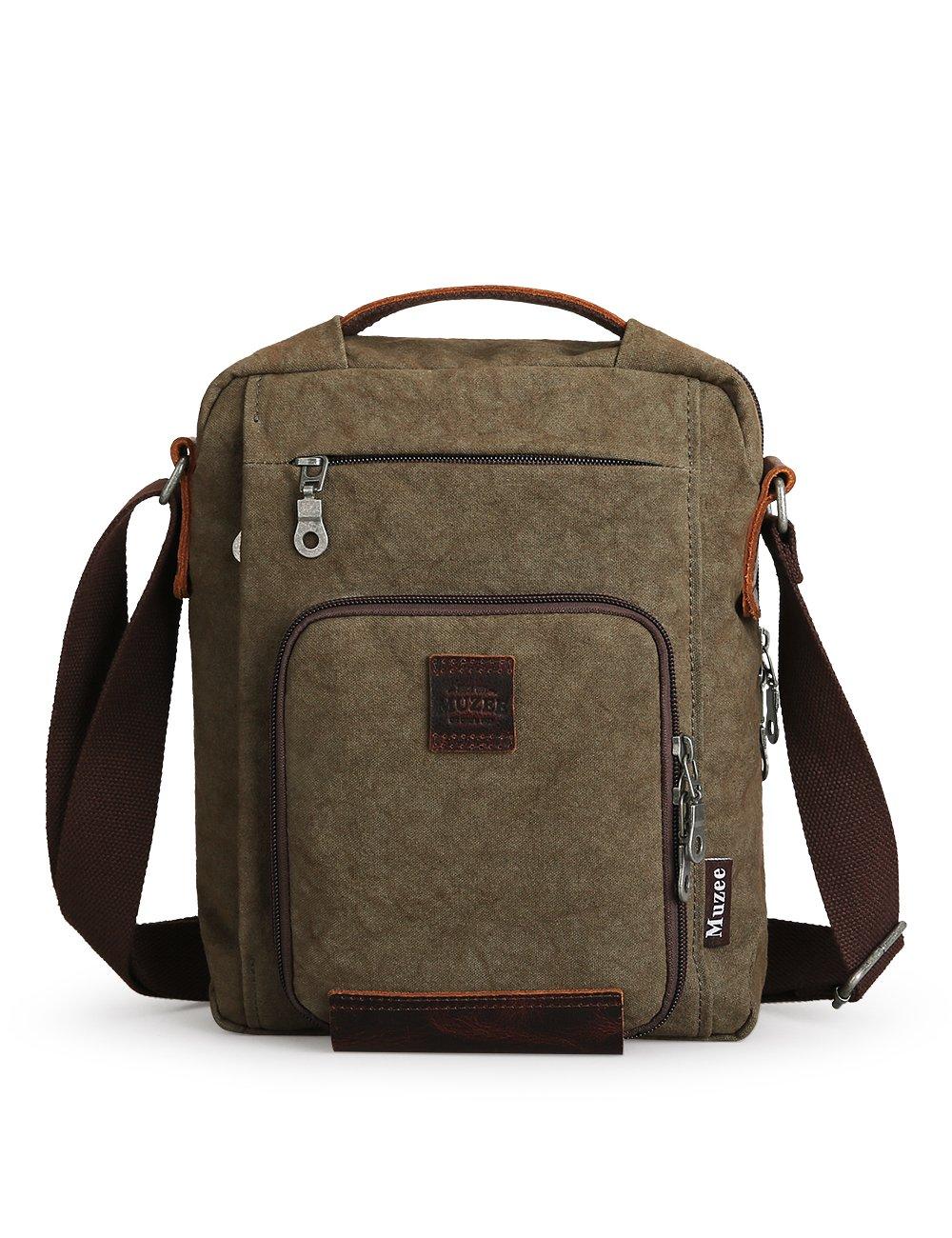 muzee Small Canvas Crossbody Bag for Men Vintage Messenger Bag Travel daypack Satchel Bag