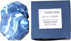 Touch Nature Activated Charcoal Peppermint Hexagon Soap in Handmade Box. Deep Cleansing, Gentle and Moisturizing. Free of SLS and Parabens. 2pc 50gm
