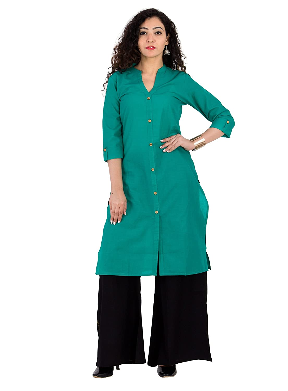 BrightJet Green Cotton Kurti & Black Palazzo Set For Women BJKPSsgb0019