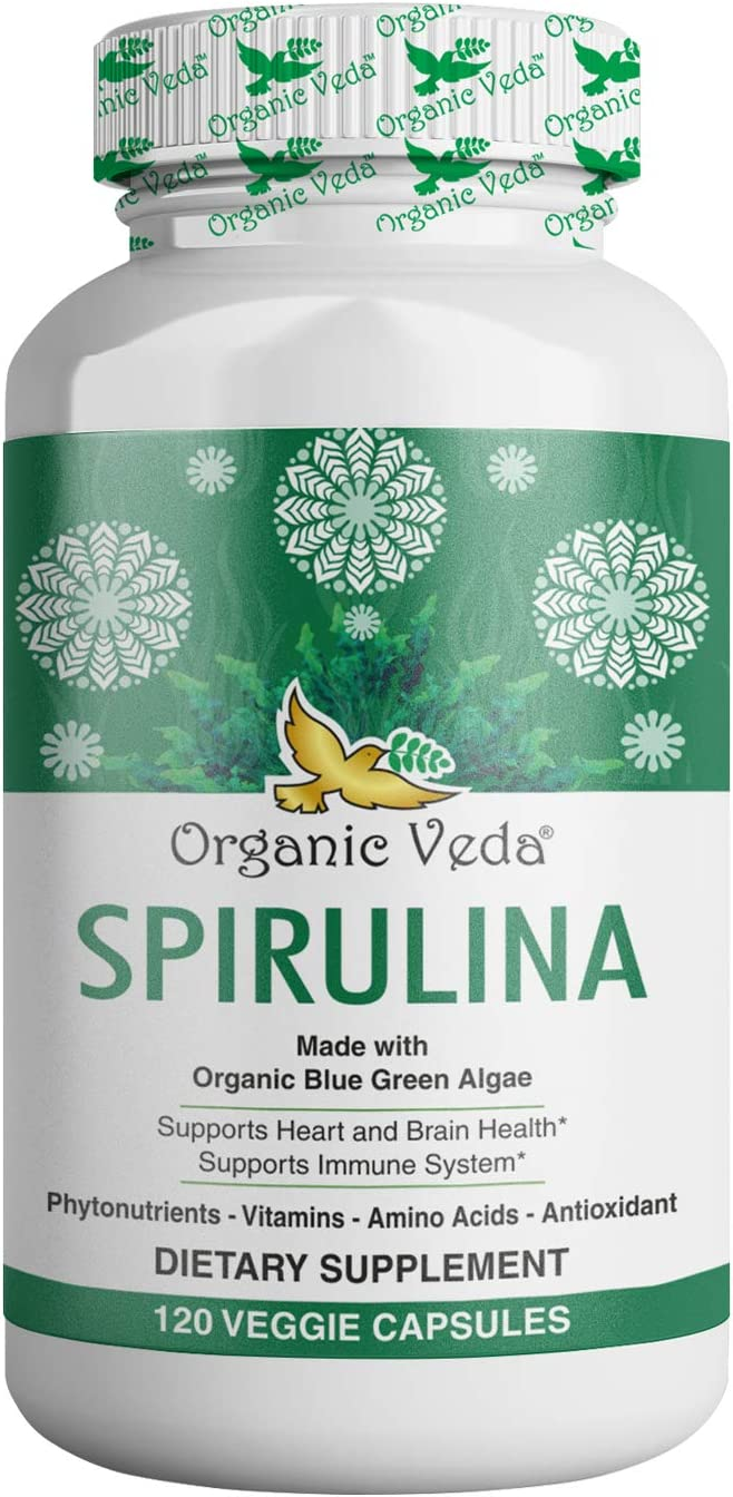 Organic Veda Spirulina Capsules – Green Superfood Made from Organic Blue-Green Algae Packed with Nutrients, Vitamins, Amino Acid, & Antioxidant – Supports Immune System – 120 Veggie Capsules
