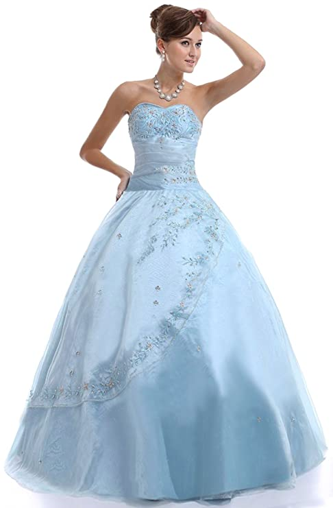 Amazon.com: Faironly M25 Light-Blue Formal Prom Dress: Clothing