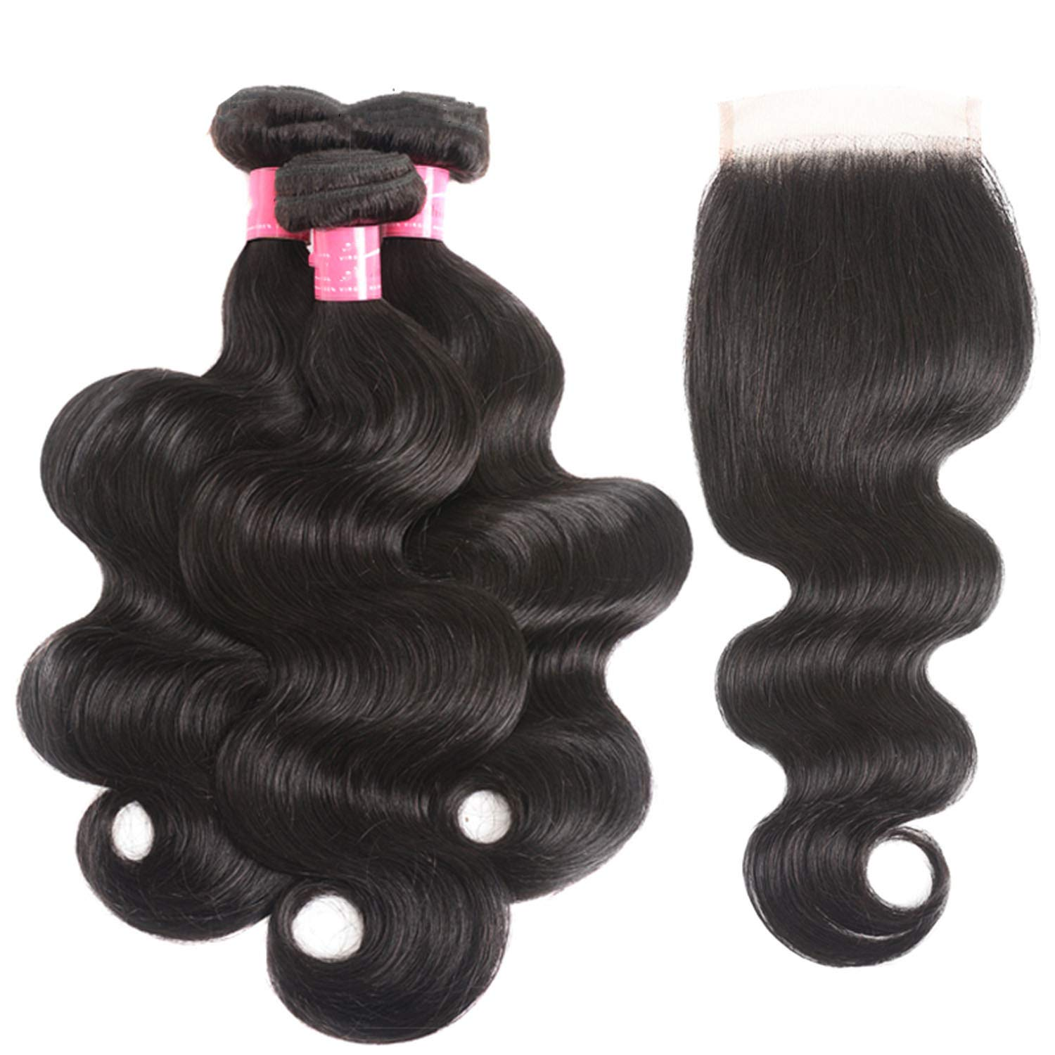 Peony red Peruvian Body Wave 3 Bundles With Closure Non Remy Hair Weft Human Hair,12 12 12 & Closure10,Natural Color,Three Part,United States 71pbX65SJ1L._SL1500_