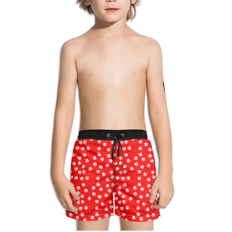 Trum Namii Boys Quick Dry Swim Trunks White Dog Paw Red Background Shorts