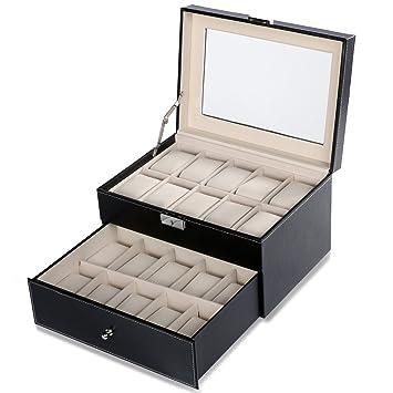 Caja para 20 de Relojes de 2 niveles Estuche de joyería Caja ...