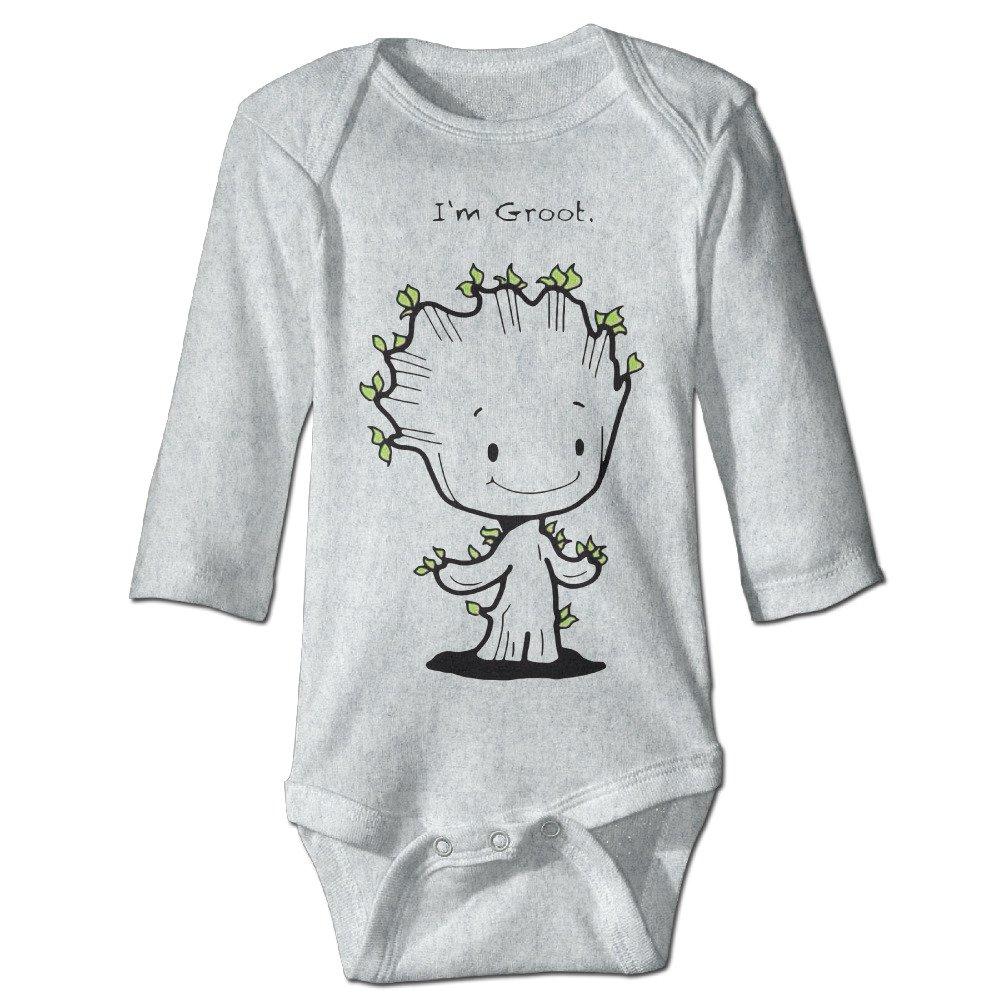 HYRONE I Am Groot Baby Bodysuit Long Sleeve Romper Suits Ash