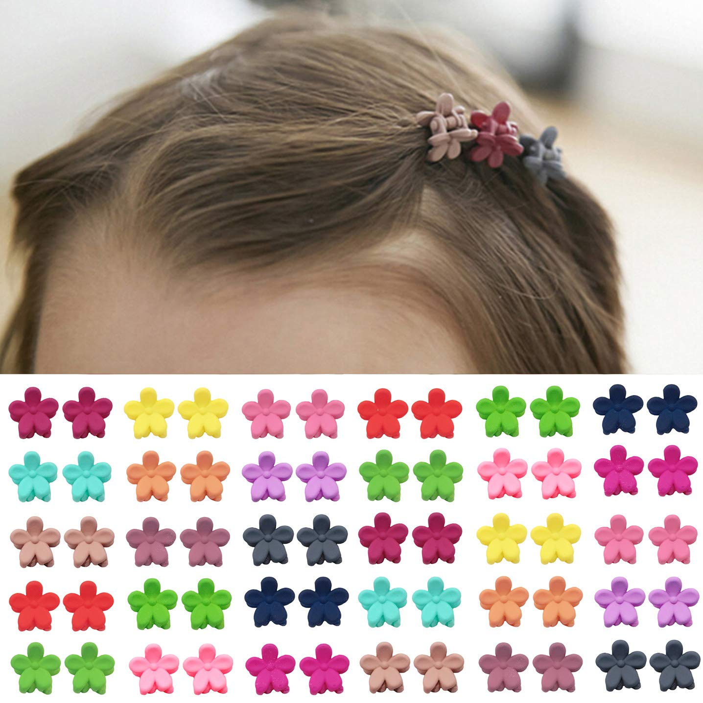 Mini Hair Claws Multi Color Flowers Plastic Clips For Kids Hair Accessories Set