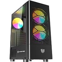 Nfortec Caelum Torre Gaming RGB con Frontal Mallado, Cristal Templado y más de 15 Modos de Iluminación - Color Negro