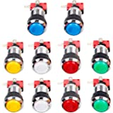 EG STARTS 10 Pcs/lots Chrome Plating 30mm LED Illuminated Push Buttons With Micro Switch For Arcade Machine Games Mame Jamma Parts 12V Each Color of 2 Pieces