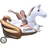 "Hoovy Giant Pegasus Inflatable Pool Float, 104""x73 x48"" Pool Float Ride On, Gold Pegasus Inflatable Island, Fun Beach…"