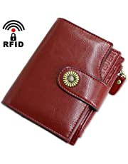 Cartera Mujer Cuero Autentico con Bloqueo RFID Billetera Mujer Piel Pequeña con Cremallera, Carteras con