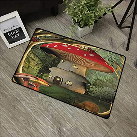 Green Off-road Vehicles in the Forest Green Plant Non-slip Bathroom Rugs Carpet