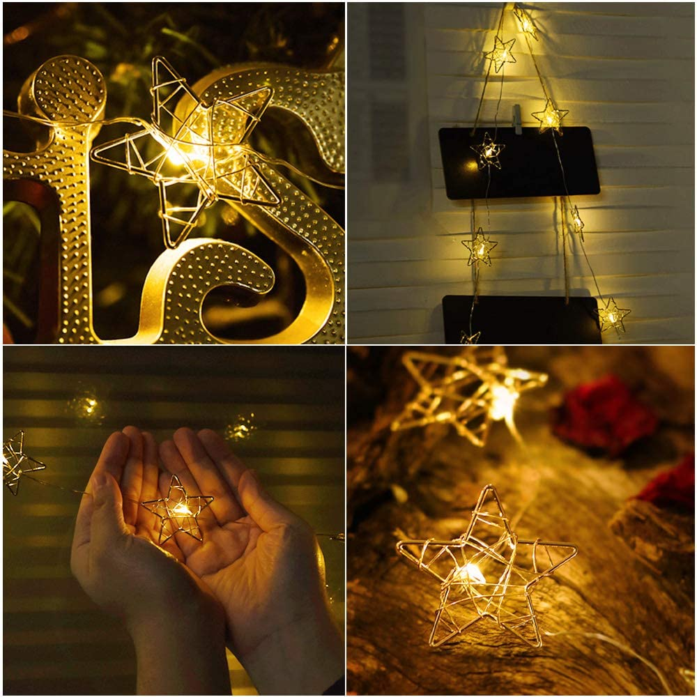 Metal design star string lights with eight modes