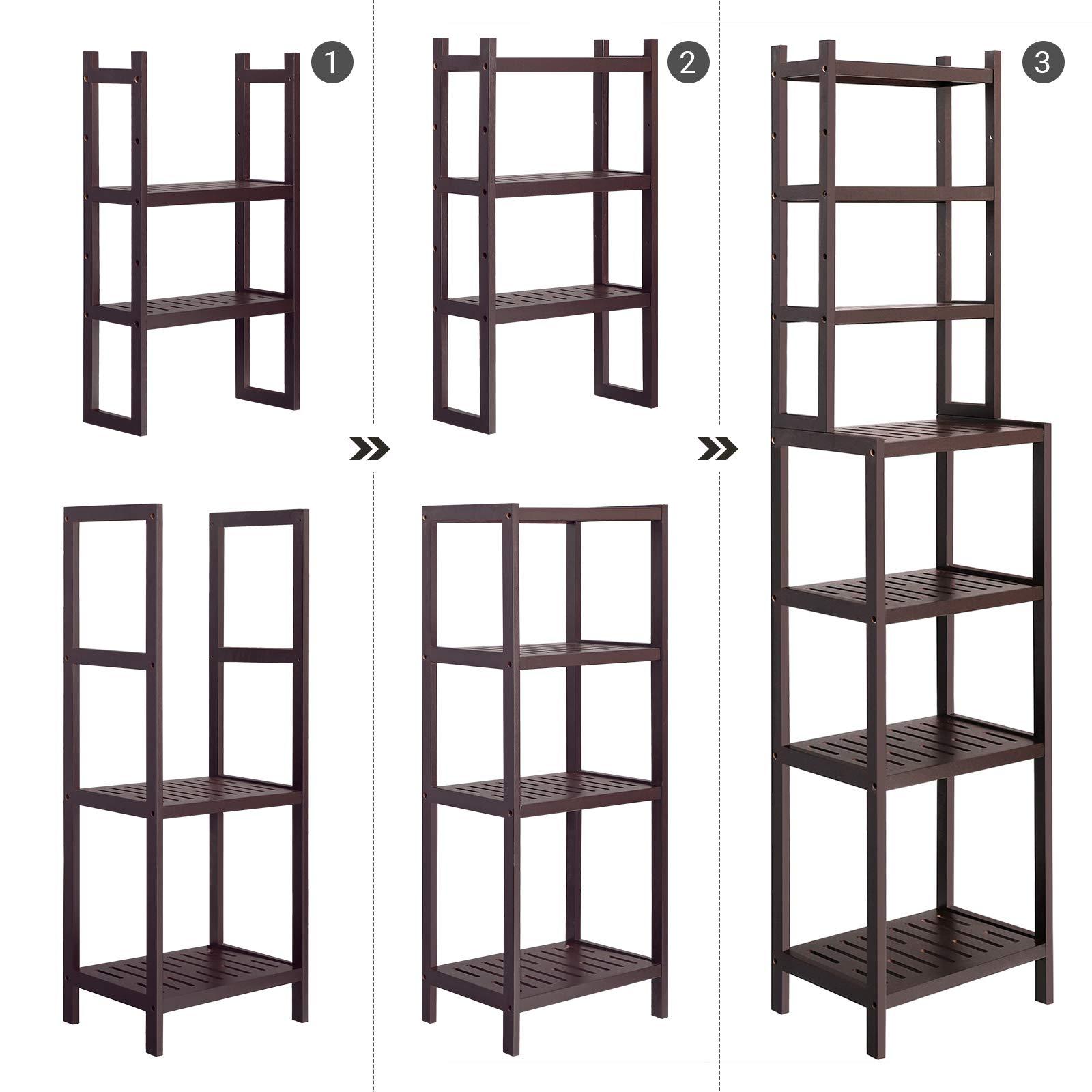 SONGMICS 7-Tier Bamboo Bathroom Shelf, 2-in-1 Design Adjustable Storage Rack, Free Standing Multifunctional Organizer, Shelving Unit for Washroom, Living Room, Kitchen, Brown UBCR01BR by SONGMICS (Image #9)