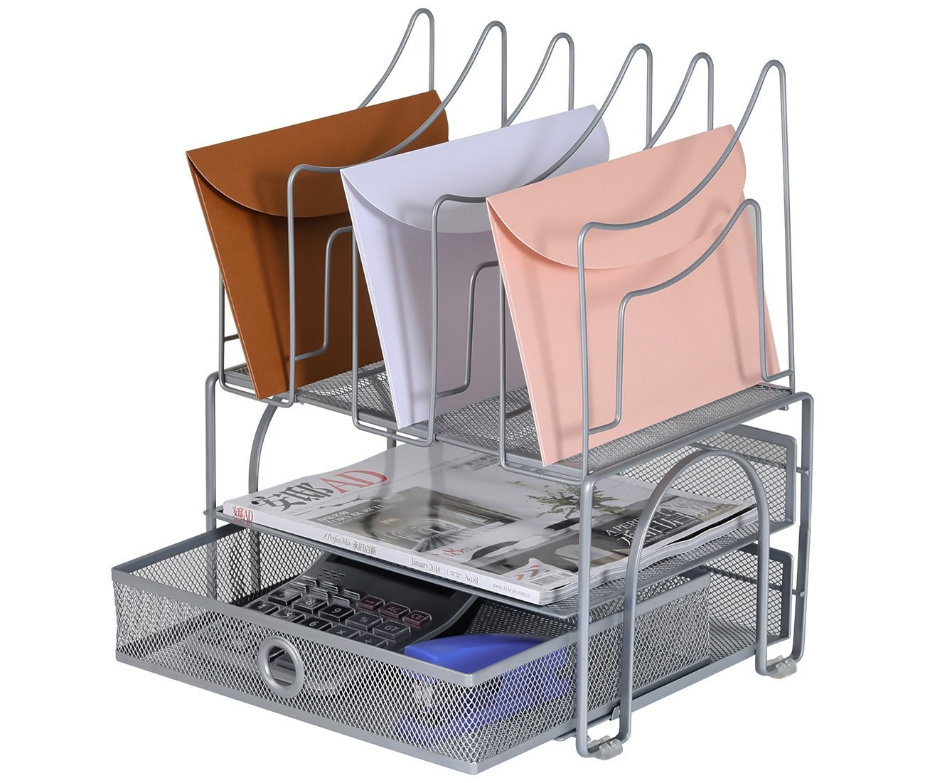 EasyPAG Mesh Desk Organizer with 5 Stacking Sorter Sections 2 Tier Letter Tray (Silver) Baike