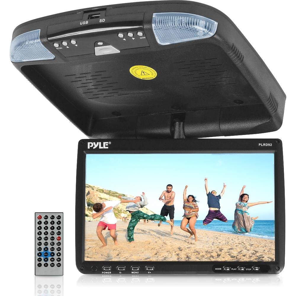 PYLE 9-Inch Flip Down Monitor and DVD Player with Wireless FM Modulator/ IR Transmitter}