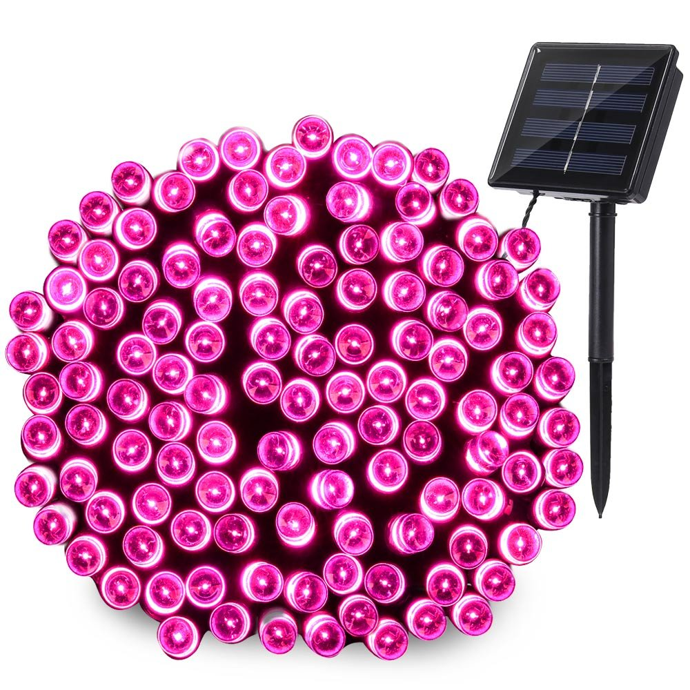 Qedertek 200 LED Valentine Lights, 72 ft Fairy Solar String Lights for Home, Porch, Patio, Garden, Lawn, Party and Holiday Decorations (Pink)
