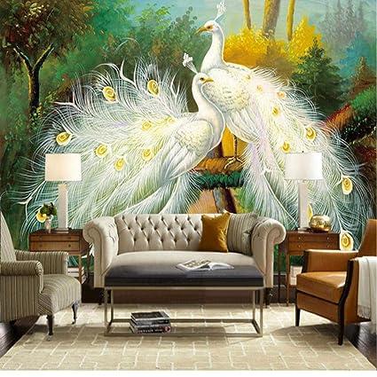 Murales 3D personalizzati Foto Pavone bianco Pittura murale ...