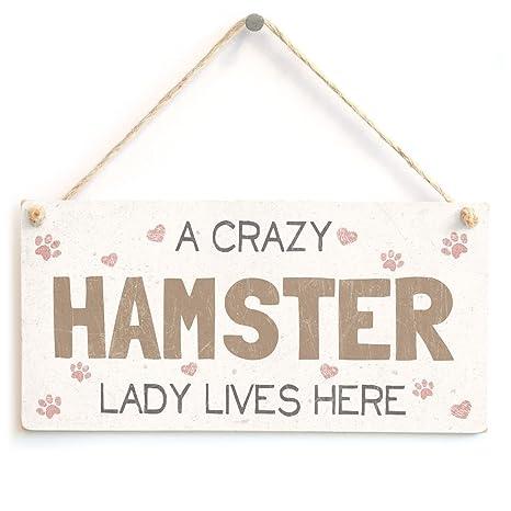 A CrazyハムスターLady Lives Here \u2013 スーパーキュートなホームアクセサリーギフトSign木製Hanging